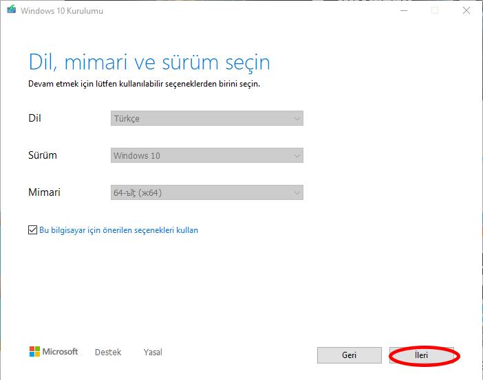 windows 10 dil seçimi sürüm ve mimari seçimi